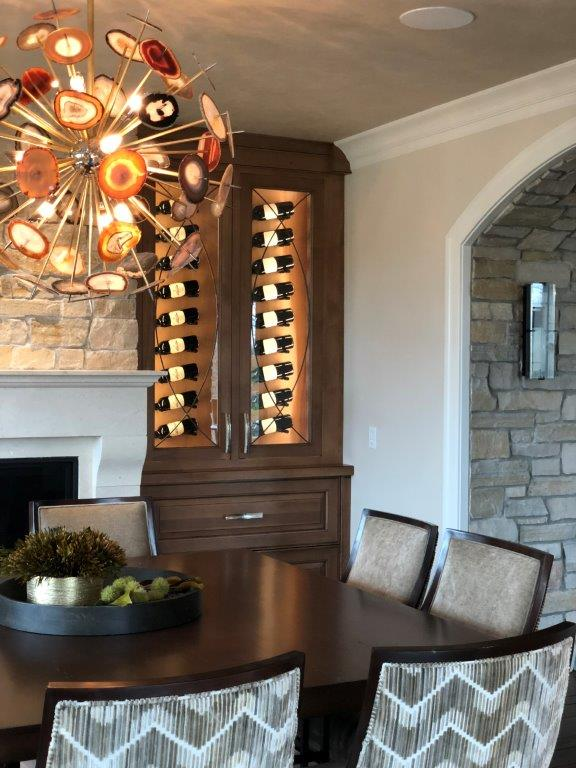 custom wine storage in dining room