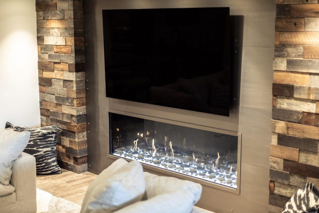 lower level, lodge-like fireplace