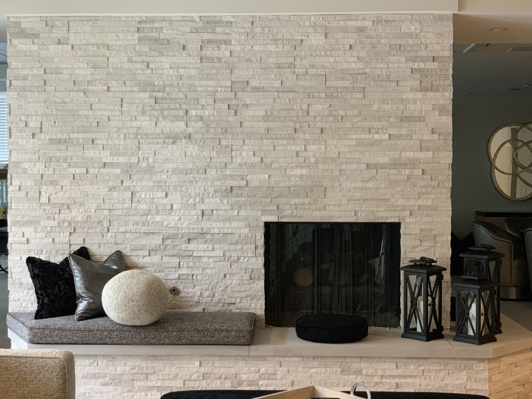fireplace refaced with white birch ledger stone