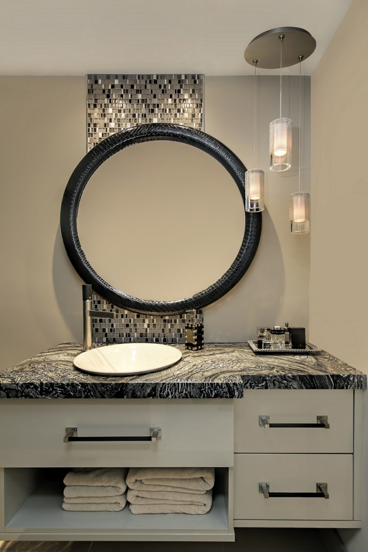 black leather bathroom mirror