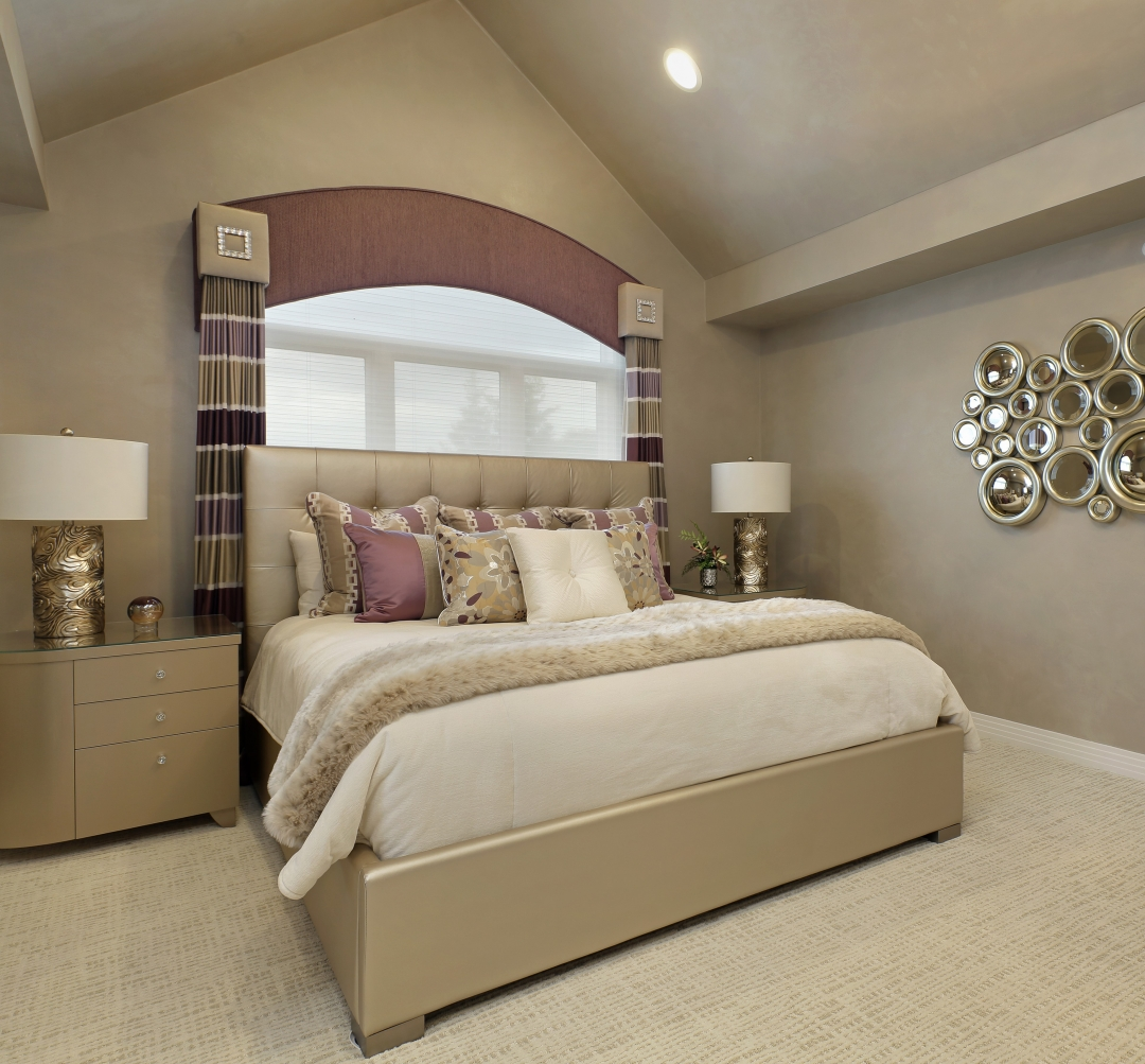 We designed this bedroom for a client who appreciates sparkle, shine and plush texture. Photo by www.lmphotography.com
