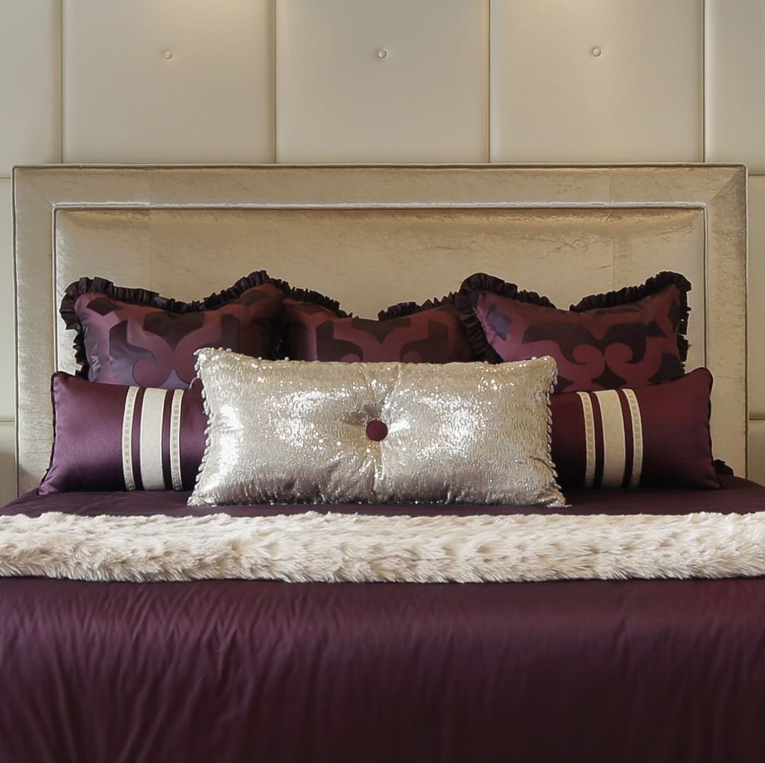 What should the well-dressed bed wear? Layers of gorgeous custom pillows. Photo by www.lmphotography.com