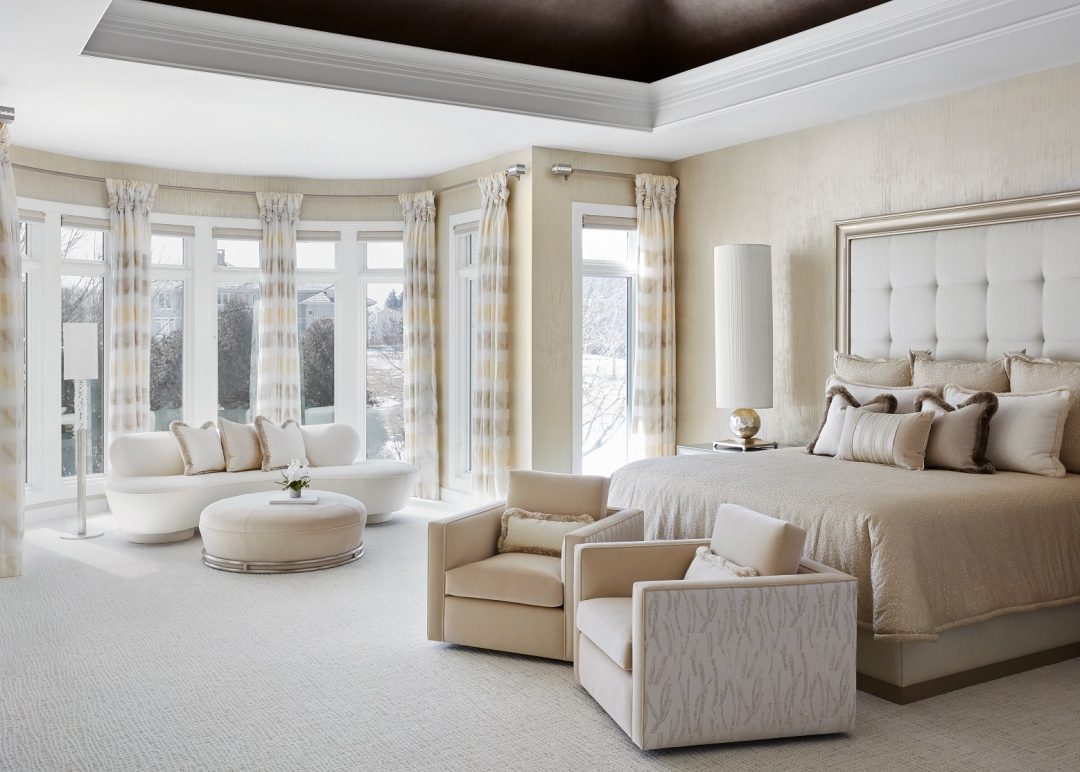 Serenity, peace and pure luxe were our goals for this master bedroom. We achieved it with a tone-on-tone color palette, mixed textures and custom furnishings.