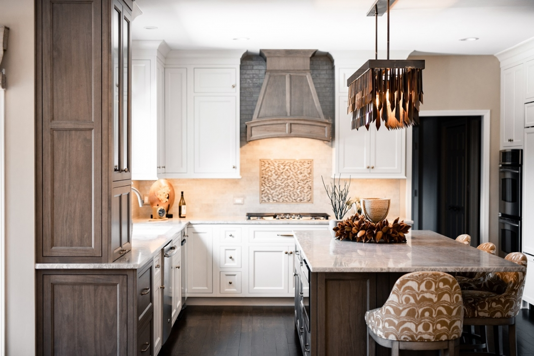 kitchen renovation, white and stained cabinetry, kitchen island, island stools