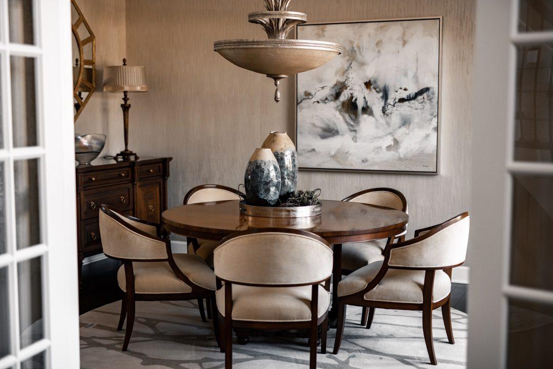 Custom renovation of transitional dining room.