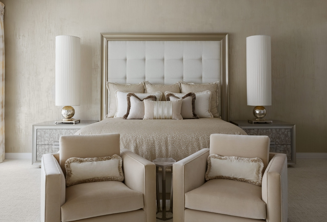 master bedroom, arm chairs, bedroom lamps, head board, pillows, night stands