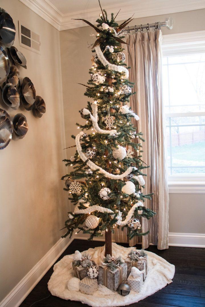 residential Christmas tree, fur ornaments, fur christmas tree skirt, white cotton braided garland