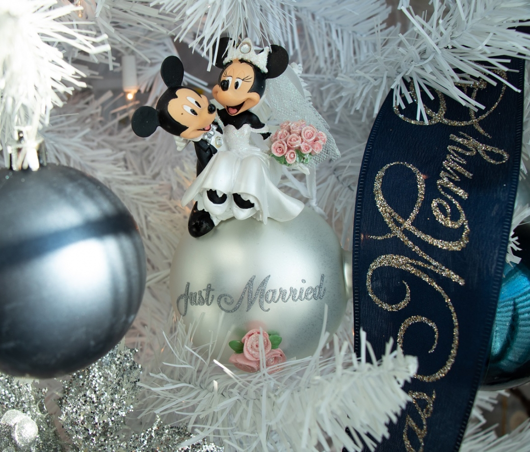 closeup of mickey and minnie mouse christmas tree ornament, wedding ornament, white christmas tree