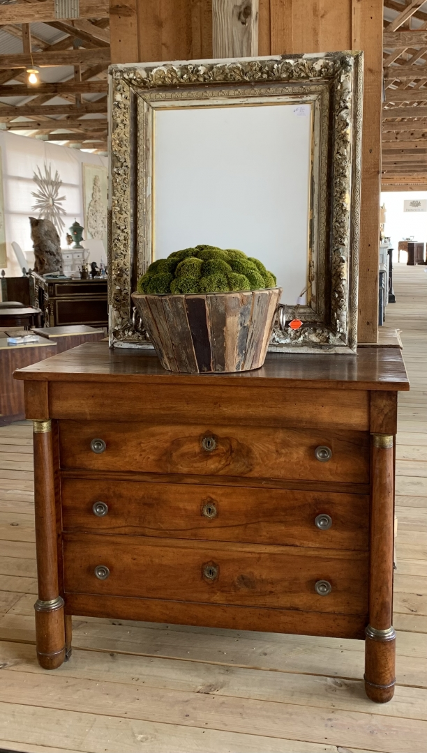 wood chest, framed mirror, rustic planter