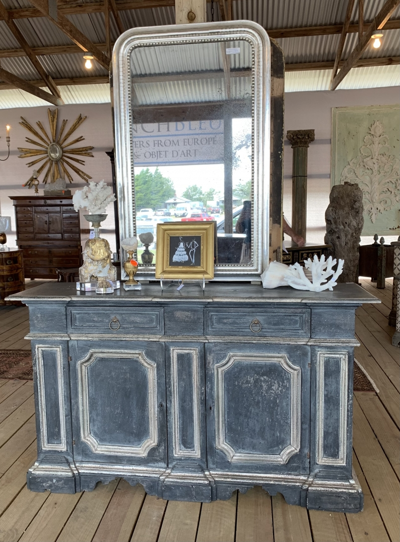 blue chest, vintage chest, framed mirror, silver mirror, accessories, shells