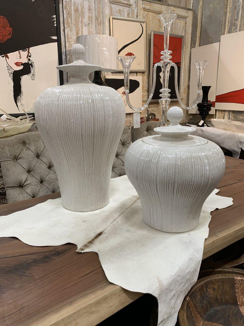 white vessels, white urns, wall art