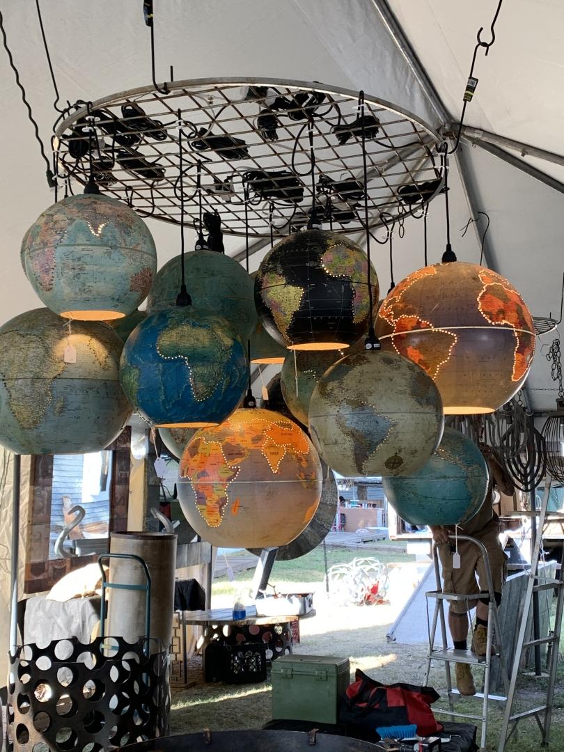 pendant lights, world globe lights, vintage globes