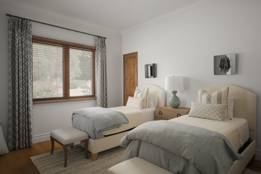 guest bedroom, twin beds, bedding, pillows, night stand, table lmap, wall art, geometric window panels, benches, rug, wood floor